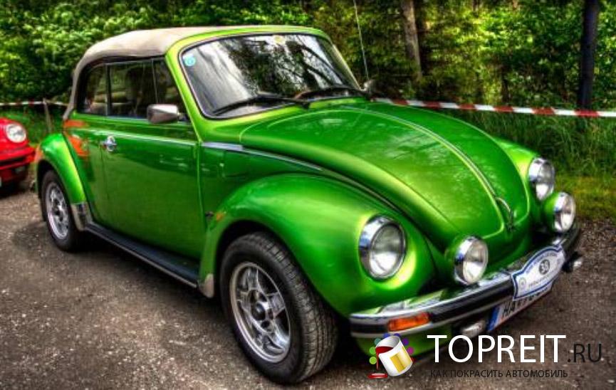 покраска автомобиля зеленым перламутром