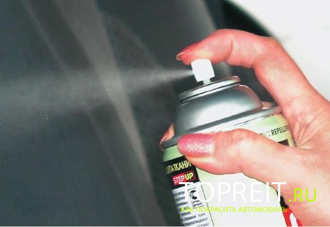 процесс распыления краски